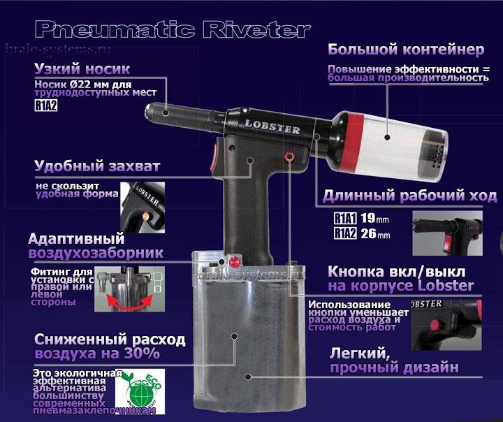 Заклепочник Lobster R1A1 пневматический для вытяжных заклепок