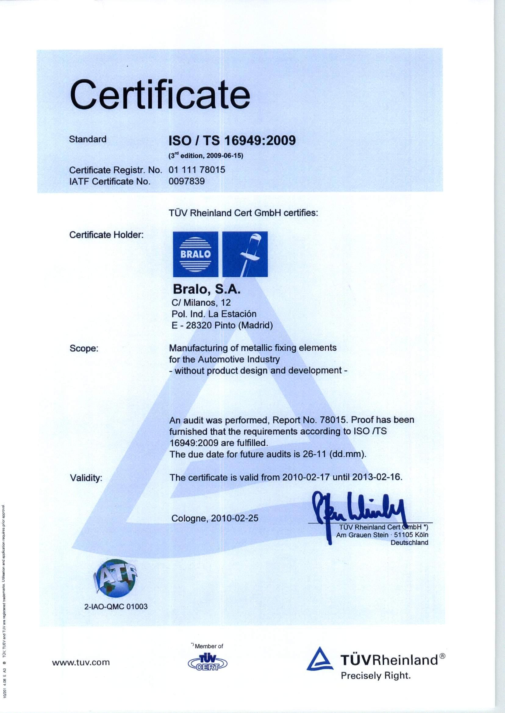 Сертификат на продукцию Bralo ISO 9001