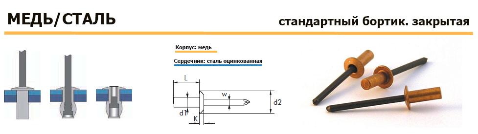 Заклепка Bralo вытяжная медь/сталь стандартный бортик закрыта
