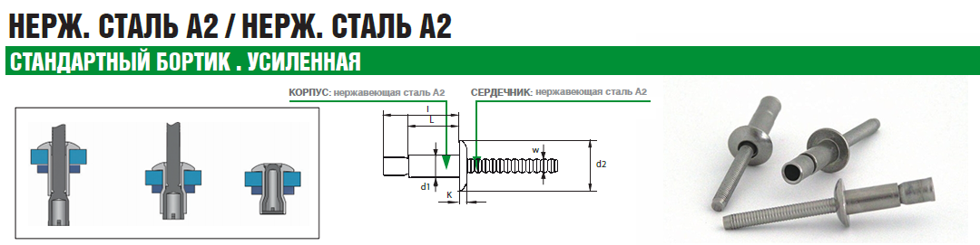 Заклепка Bralo вытяжная нержавеющая сталь стандартный бортик А2 усиленная