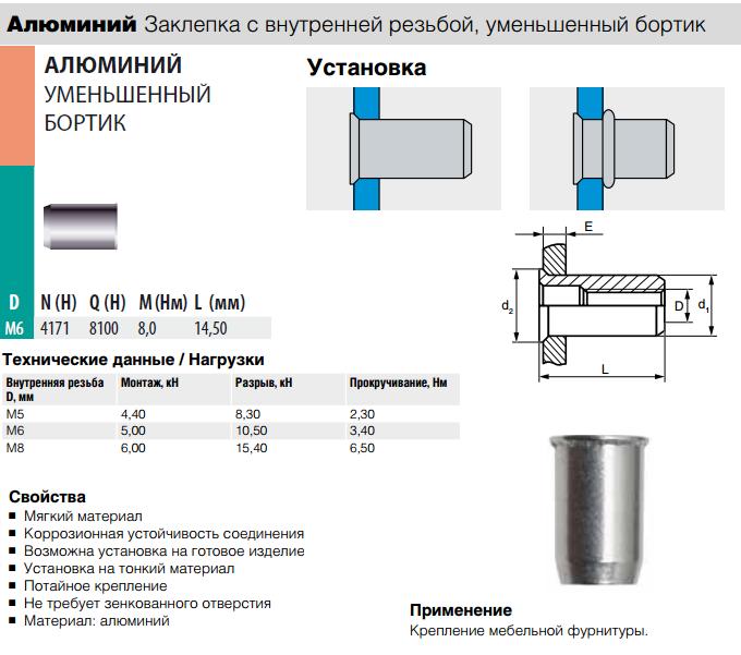 Заклепка Bralo резьбовая алюминиевая уменьшенный бортик 0302206009