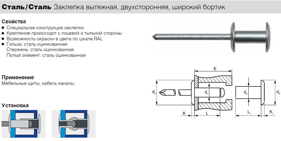 Заклепка Bralo вытяжная стальная широкий бортик двухсторонняя G1234004811