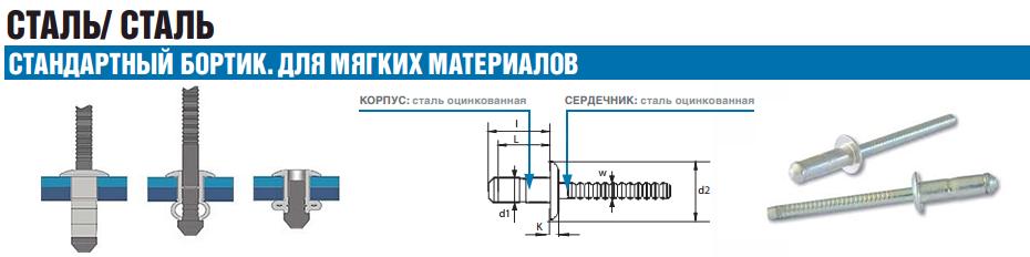 Заклепка Bralo вытяжная стальная стандартный бортик для мягких материалов